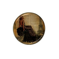 Elegant Evening Gown Lady Vintage Newspaper Print Pin Up Girl Paris Eiffel Tower Golf Ball Marker 10 Pack (for Hat Clip) by chicelegantboutique