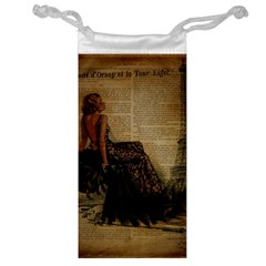 Elegant Evening Gown Lady Vintage Newspaper Print Pin Up Girl Paris Eiffel Tower Jewelry Bag by chicelegantboutique