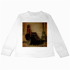 Elegant Evening Gown Lady Vintage Newspaper Print Pin Up Girl Paris Eiffel Tower Kids Long Sleeve T Shirt by chicelegantboutique