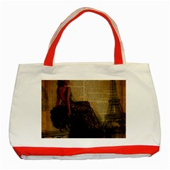 Elegant Evening Gown Lady Vintage Newspaper Print Pin Up Girl Paris Eiffel Tower Classic Tote Bag (Red) by chicelegantboutique