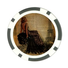 Elegant Evening Gown Lady Vintage Newspaper Print Pin Up Girl Paris Eiffel Tower Poker Chip by chicelegantboutique