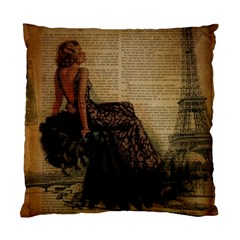 Elegant Evening Gown Lady Vintage Newspaper Print Pin Up Girl Paris Eiffel Tower Cushion Case (two Sided)  by chicelegantboutique