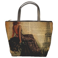 Elegant Evening Gown Lady Vintage Newspaper Print Pin Up Girl Paris Eiffel Tower Bucket Bag by chicelegantboutique