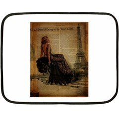 Elegant Evening Gown Lady Vintage Newspaper Print Pin Up Girl Paris Eiffel Tower Mini Fleece Blanket (two Sided) by chicelegantboutique