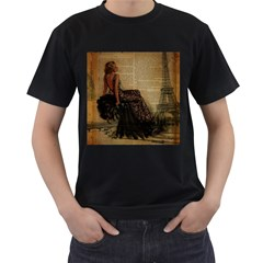 Elegant Evening Gown Lady Vintage Newspaper Print Pin Up Girl Paris Eiffel Tower Mens' T Shirt (black)
