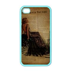 Elegant Evening Gown Lady Vintage Newspaper Print Pin Up Girl Paris Eiffel Tower Apple Iphone 4 Case (color) by chicelegantboutique