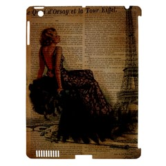 Elegant Evening Gown Lady Vintage Newspaper Print Pin Up Girl Paris Eiffel Tower Apple Ipad 3/4 Hardshell Case (compatible With Smart Cover) by chicelegantboutique