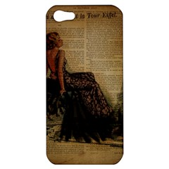 Elegant Evening Gown Lady Vintage Newspaper Print Pin Up Girl Paris Eiffel Tower Apple Iphone 5 Hardshell Case by chicelegantboutique