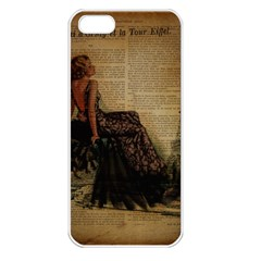 Elegant Evening Gown Lady Vintage Newspaper Print Pin Up Girl Paris Eiffel Tower Apple Iphone 5 Seamless Case (white) by chicelegantboutique