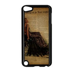 Elegant Evening Gown Lady Vintage Newspaper Print Pin Up Girl Paris Eiffel Tower Apple Ipod Touch 5 Case (black) by chicelegantboutique