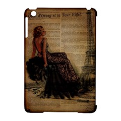 Elegant Evening Gown Lady Vintage Newspaper Print Pin Up Girl Paris Eiffel Tower Apple Ipad Mini Hardshell Case (compatible With Smart Cover) by chicelegantboutique
