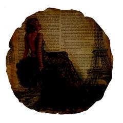 Elegant Evening Gown Lady Vintage Newspaper Print Pin Up Girl Paris Eiffel Tower 18  Premium Round Cushion  by chicelegantboutique