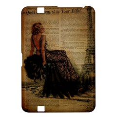 Elegant Evening Gown Lady Vintage Newspaper Print Pin Up Girl Paris Eiffel Tower Kindle Fire Hd 8 9  Hardshell Case by chicelegantboutique