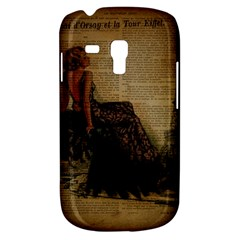Elegant Evening Gown Lady Vintage Newspaper Print Pin Up Girl Paris Eiffel Tower Samsung Galaxy S3 Mini I8190 Hardshell Case by chicelegantboutique