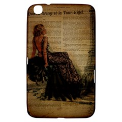 Elegant Evening Gown Lady Vintage Newspaper Print Pin Up Girl Paris Eiffel Tower Samsung Galaxy Tab 3 (8 ) T3100 Hardshell Case  by chicelegantboutique