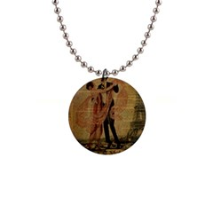 Vintage Paris Eiffel Tower Elegant Dancing Waltz Dance Couple  Button Necklace by chicelegantboutique