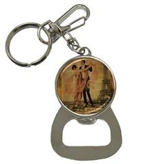 Vintage Paris Eiffel Tower Elegant Dancing Waltz Dance Couple  Bottle Opener Key Chain by chicelegantboutique