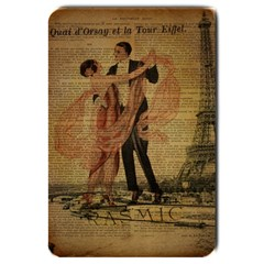Vintage Paris Eiffel Tower Elegant Dancing Waltz Dance Couple  Large Door Mat by chicelegantboutique