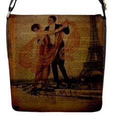 Vintage Paris Eiffel Tower Elegant Dancing Waltz Dance Couple  Removable Flap Cover (small) by chicelegantboutique
