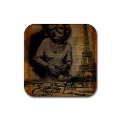 Romantic Kissing Couple Love Vintage Paris Eiffel Tower Drink Coaster (square) by chicelegantboutique