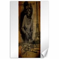 Romantic Kissing Couple Love Vintage Paris Eiffel Tower Canvas 20  X 30  (unframed) by chicelegantboutique