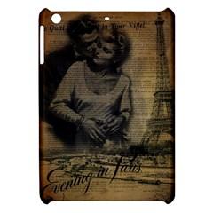 Romantic Kissing Couple Love Vintage Paris Eiffel Tower Apple Ipad Mini Hardshell Case by chicelegantboutique