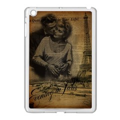 Romantic Kissing Couple Love Vintage Paris Eiffel Tower Apple Ipad Mini Case (white) by chicelegantboutique