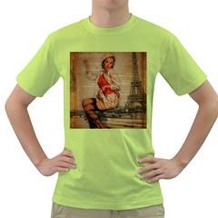 Vintage Newspaper Print Pin Up Girl Paris Eiffel Tower Funny Vintage Retro Nurse  Mens  T Shirt (green) by chicelegantboutique