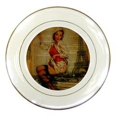 Vintage Newspaper Print Pin Up Girl Paris Eiffel Tower Funny Vintage Retro Nurse  Porcelain Display Plate by chicelegantboutique
