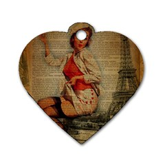 Vintage Newspaper Print Pin Up Girl Paris Eiffel Tower Funny Vintage Retro Nurse  Dog Tag Heart (two Sided) by chicelegantboutique