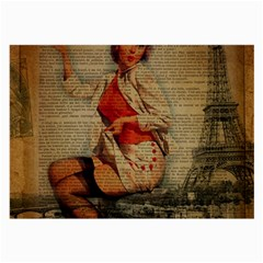 Vintage Newspaper Print Pin Up Girl Paris Eiffel Tower Funny Vintage Retro Nurse  Glasses Cloth (large, Two Sided) by chicelegantboutique