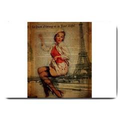 Vintage Newspaper Print Pin Up Girl Paris Eiffel Tower Funny Vintage Retro Nurse  Large Door Mat by chicelegantboutique
