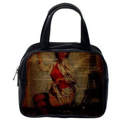 Vintage Newspaper Print Pin Up Girl Paris Eiffel Tower Funny Vintage Retro Nurse  Classic Handbag (One Side) by chicelegantboutique