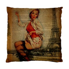 Vintage Newspaper Print Pin Up Girl Paris Eiffel Tower Funny Vintage Retro Nurse  Cushion Case (two Sided)  by chicelegantboutique