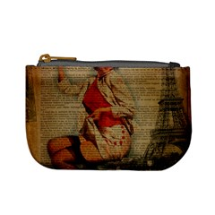 Vintage Newspaper Print Pin Up Girl Paris Eiffel Tower Funny Vintage Retro Nurse  Coin Change Purse by chicelegantboutique