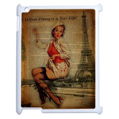 Vintage Newspaper Print Pin Up Girl Paris Eiffel Tower Funny Vintage Retro Nurse  Apple Ipad 2 Case (white) by chicelegantboutique
