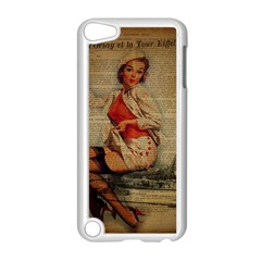 Vintage Newspaper Print Pin Up Girl Paris Eiffel Tower Funny Vintage Retro Nurse  Apple Ipod Touch 5 Case (white) by chicelegantboutique