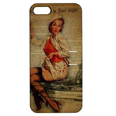Vintage Newspaper Print Pin Up Girl Paris Eiffel Tower Funny Vintage Retro Nurse  Apple Iphone 5 Hardshell Case With Stand by chicelegantboutique