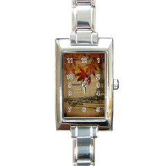 Elegant Fall Autumn Leaves Vintage Paris Eiffel Tower Landscape Rectangular Italian Charm Watch by chicelegantboutique