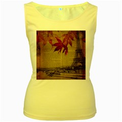 Elegant Fall Autumn Leaves Vintage Paris Eiffel Tower Landscape Womens  Tank Top (yellow) by chicelegantboutique