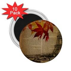 Elegant Fall Autumn Leaves Vintage Paris Eiffel Tower Landscape 2 25  Button Magnet (10 Pack) by chicelegantboutique
