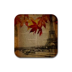 Elegant Fall Autumn Leaves Vintage Paris Eiffel Tower Landscape Drink Coaster (square) by chicelegantboutique