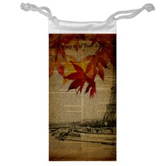 Elegant Fall Autumn Leaves Vintage Paris Eiffel Tower Landscape Jewelry Bag by chicelegantboutique