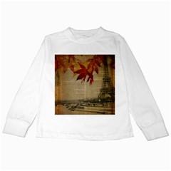 Elegant Fall Autumn Leaves Vintage Paris Eiffel Tower Landscape Kids Long Sleeve T Shirt by chicelegantboutique