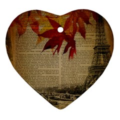 Elegant Fall Autumn Leaves Vintage Paris Eiffel Tower Landscape Heart Ornament (two Sides) by chicelegantboutique