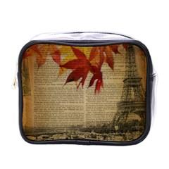 Elegant Fall Autumn Leaves Vintage Paris Eiffel Tower Landscape Mini Travel Toiletry Bag (one Side) by chicelegantboutique