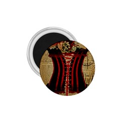 Black Red Corset Vintage Lily Floral Shabby Chic French Art 1 75  Button Magnet by chicelegantboutique