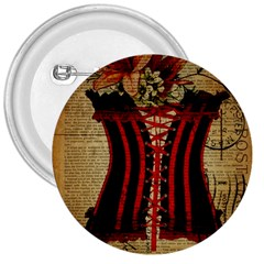 Black Red Corset Vintage Lily Floral Shabby Chic French Art 3  Button by chicelegantboutique