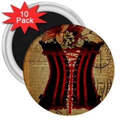 Black Red Corset Vintage Lily Floral Shabby Chic French Art 3  Button Magnet (10 Pack) by chicelegantboutique