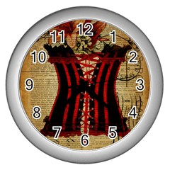 Black Red Corset Vintage Lily Floral Shabby Chic French Art Wall Clock (silver) by chicelegantboutique